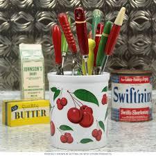Cherry Kitchen Curtains by Red Cherries Ceramic Kitchen Crock Utensils And Cherries