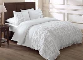 Ruffle Bed Set Chezmoi Collection 3 Piece Ella Waterfall Ruffle Comforter Set Cal