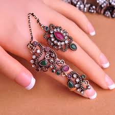 pretty gold rings images Carved flowers vintage pretty exquisite mid rings fashion turkish jpg