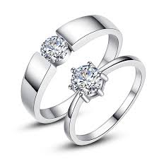 diamond couple rings images Korean 925 sterling silver classic six claw simulation diamond jpg