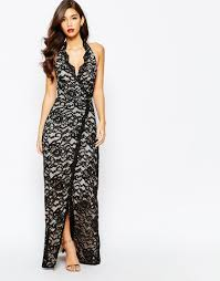 jarlo valentia all over lace plunge maxi dress with thigh split in