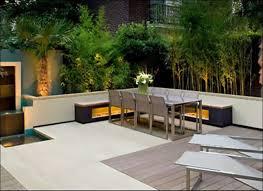 lawn garden luxury backyard landscape design with grey sofa and