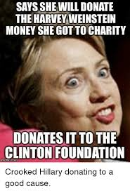 Charity Meme - says she will donate the harvey weinstein money she got to charity