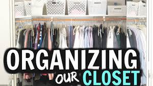 organizing my basic apartment closet his u0026 hers closet youtube