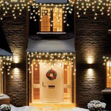 White Icicle Lights Outdoor 480 Warm White Led Snowing Icicle Lights