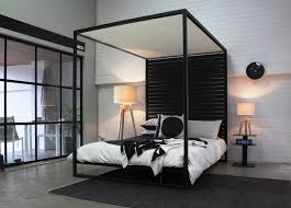 Modern Classic Bedroom Furniture The Four Poster Bed In Textured Black Powder Coat A Modern Take