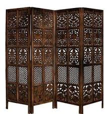 handcrafted wood rajasthan antique brown 4 panel handcrafted wood room divider