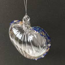 blue beaded large clear glass heart decoration