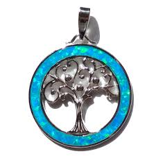 blue opal sterling silver blue opal tree of life pendant astral aspects