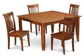 5pc square dining table set 4 wood seat slatted chairs in brown