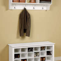 white wooden painted bench shoe organizer under wall mount coat