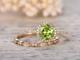 gold bridal sets peridot engagement ring set 7mm cut peridot bridal sets and