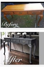 Repurposing Old Furniture by Before U0026 After Old Run Down Sofa Table Refinished In A Mod Grey