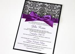 bas mitzvah invitations embellished paperie black white and purple damask bat