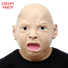 bald man halloween mask angry baby mask halloween fancy dress costume the