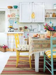 Shabby Chic Kitchen Rugs Colorful Shabby Chic Kitchen Design With Striped Rug Shabby Chic