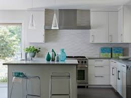 minimalist coastal kitchen with a white subway tile backsplash