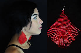 Native American Beaded Earrings Huichol Red Boho Tribal Earrings Huichol Native American Beaded Earrings