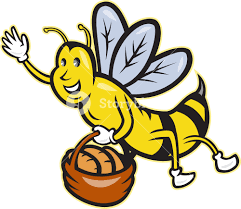 bee carrying basket bread loaf cartoon royalty free stock image