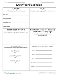 know your place value worksheet education com