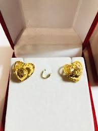 earrings saudi gold 18k saudi gold heart earring ebay
