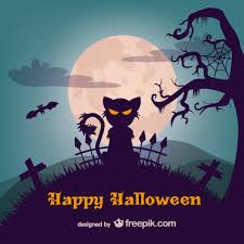 evil cat halloween illustration template vector free download