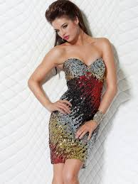 luxury sweetheart short sheath multi color sequined cocktail party