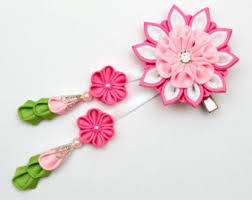 japanese hair accessories pink kanzashi fabric flower hair comb with falls pink flower