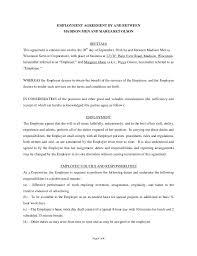 sample employment agreement template sample chef employment