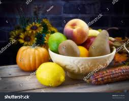 bowl of fruits bowl fruit fall set sunflowers on stock photo 62208694 shutterstock