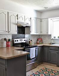 two tone kitchen cabinets two tone painted kitchen cabinets contemporary style with red