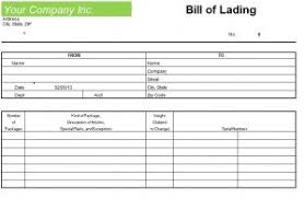 Bill Of Lading Template Excel Blank Bill Of Lading Form Template