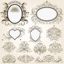vintage frames with calligraphic ornaments vector 01 vector