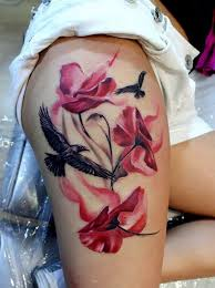 flying raven and red flower thigh tattoo creativefan