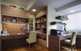home office furniture for two with parsons chairs and wall mounted