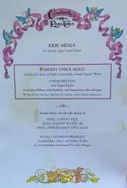 Blue Table Menu Alexis U0027s Gluten Free Adventures Cinderella U0027s Royal Table Allergy