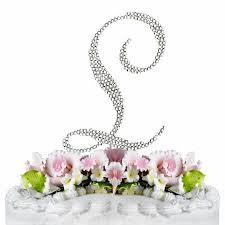 l cake topper covered swarovski wedding cake topper letter l