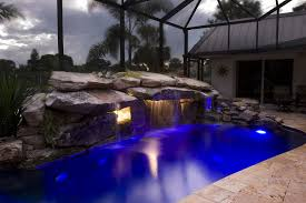 Underwater Landscape Lighting by Siesta Key Pool Remodel With Stone Grotto Waterfall And Stone Spa
