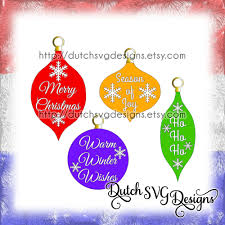 christmas ornaments cutting files with text and snowstars in jpg