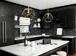 black backsplash kitchen white and black kitchen with black marble herringbone tiles
