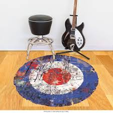 mod bullseye paint splatter floor graphic vintage style decor