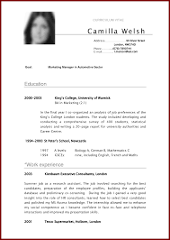 Samples Of Cv 18 Curriculum Vitae Examples For Students Sendletters Info