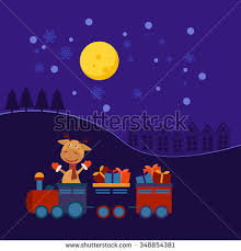 santa claus monkey christmas train giftseps10christmas stock