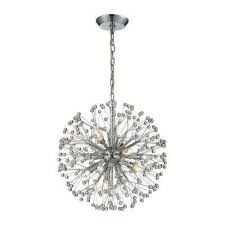 Diamond Chandeliers Chrome Starburst Chandeliers Hanging Lights The Home Depot