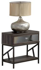 adrianna mirrored nightstand walnut industrial nightstands