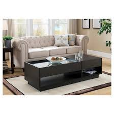 karl modern tempered glass top coffee table with storage