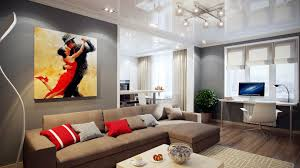 modern minimalist design of the living room wood wall and paint