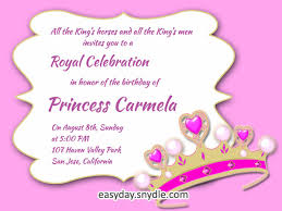 birthday invitation words princess birthday invitation wording sles and ideas easyday