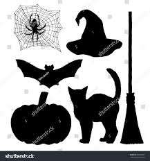 Bat For Halloween Set Witch Silhouettes Halloween Cat Broom Stock Vector 589370663