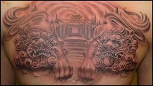 16 foo dog tattoos on chest